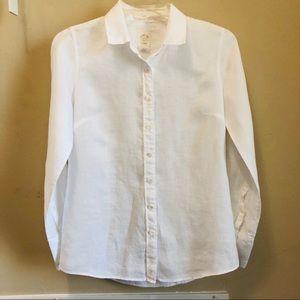 J. Crew Perfect Shirt White Linen Button Down